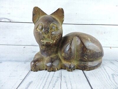 "Vintage Folk Art Hand Carved Wooden Cat 8"" Figurine Wood Sculpture Primitive"