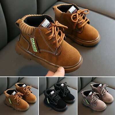 Kids Girls Boys Ankle Snow Boots Winter Flat Grip Sole Combat Childrens Shoes