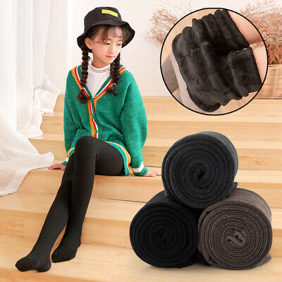 Kids Girls Winter Thick Fleece Thermal Leggings Stretchy Stocking Trousers Pants