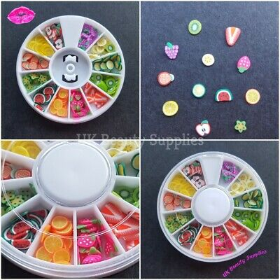 3D Nail Art Decoration Fruit Shapes Fimo Slices Rhinestones Diamantes UK SELLER