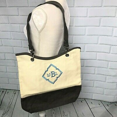 """Thirty One Canvas Crew Carry All Natural Brown Monogram """"WBL"""" in Slate Blue"""