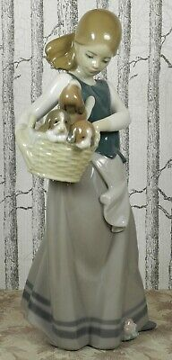 """Rare Retired Lladro Nao 1311 """"Little Dogs On Hip"""" With A Basket Of Puppies 1996"""