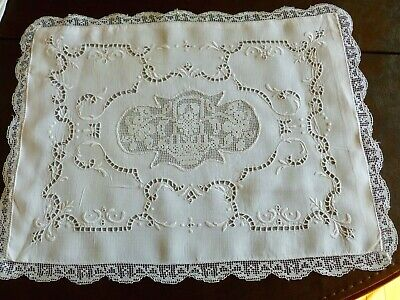 Lovely Vintage Italian Reticella Needlelace Linen Pillow Sham Embroidery Lace