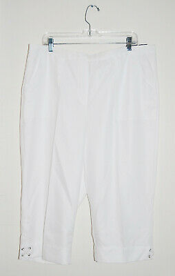 NWT Alfred Dunner Women's Plus White Classic Fit Ankle Detail Capri Pants sz 24W