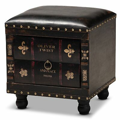 Charlier Literary Antique-Inspired Faux Leather & Books Drawer Storage Ottoman