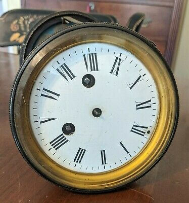 Antique Japy Freres French Mantel Clock Movement Enamel Dial Brass Glass & Back