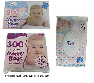 300/200 Disposable Nappy Bags Fragranced Baby Diaper Hygienic Tie Handle Sacks