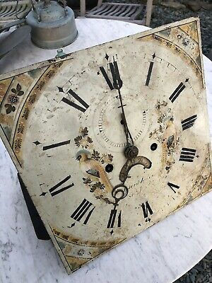 Antique Grandfather Clock Face & Mechanism Bell Pat Hand Painted Face C:- 1760s.