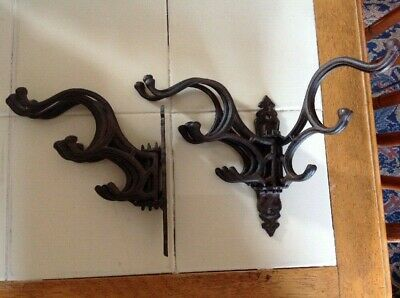2 Vintage Wrought Iron Wall Hooks Folding 5 Large Hooks Per Unit Victorian Goth