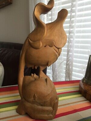 """12"""" Wooden Abstract Hand Carved Statue Figurine """"The Kiss"""" Art Sculpture Decor"""