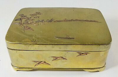Antique Japanese Mixed Metal Bronze Cigarette Box Landscape Copper
