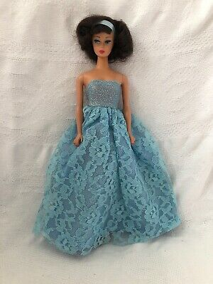 Vintage Barbie Doll Clone Mommy Made BLUE LACE STRAPLESS Evening GOWN Dress