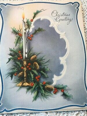 Vintage Christmas Card White Taper Candle Flame Art Deco Melting Wax Pine Cones