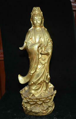 "24.8"" Old China Copper Gold Buddhism Kwan-yin Guan Yin Boddhisattva Vase Statue"