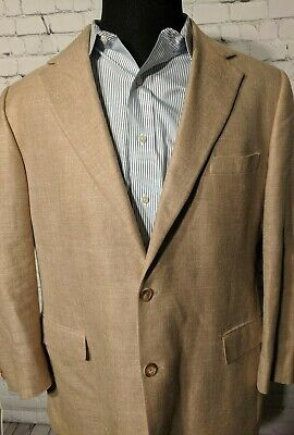 Brooks Brothers Mens Silk Linen Wool Blend Blazer Suit Jacket 45R Tan Khaki