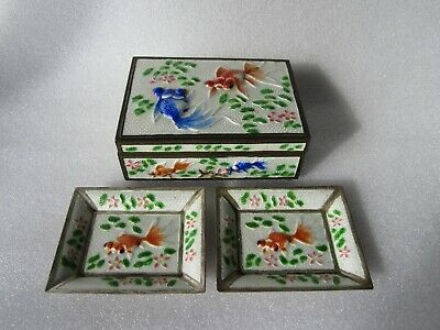 Old Chinese Famille Rose Koi Fish High Relief Enamel Box w/ 2 Matching Trays