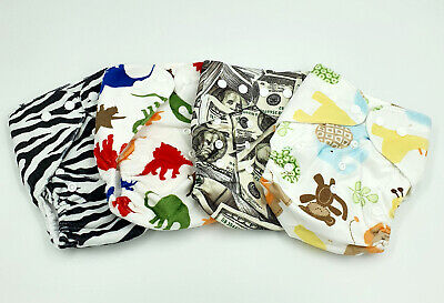Bulk Cheap Cloth Nappy SHELL 4 Pack Minky Cute Patterns, Zebra, Money, Animals