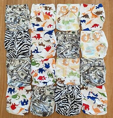 Bulk Cheap Cloth Nappy SHELL 16 Pack Minky Cute Patterns, Zebra, Money, Animals