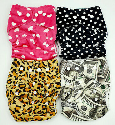 Bulk Cheap Cloth Nappy SHELL 4 Pack Minky Cute Girl Patterns Money Animals Spots