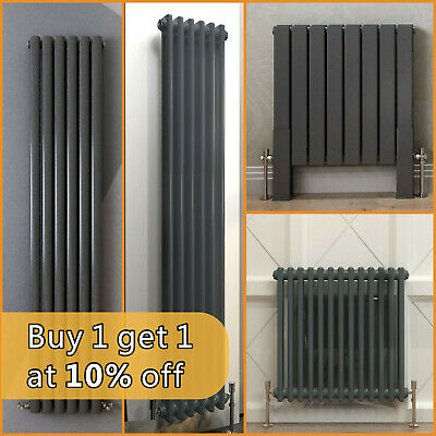 Anthracite Designer Radiator Vertical Horizontal Flat Panel Oval 2 3 Column Rads