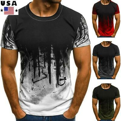 ❤️Men Slim Fit O Neck Short Sleeve Muscle Tee Shirts Casual T-shirt Tops Blouse
