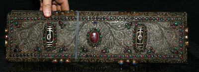 "15.2"" Old Tibetan Filigree Dzi Bead Gems Buddhism Buddha Scriptures Box"