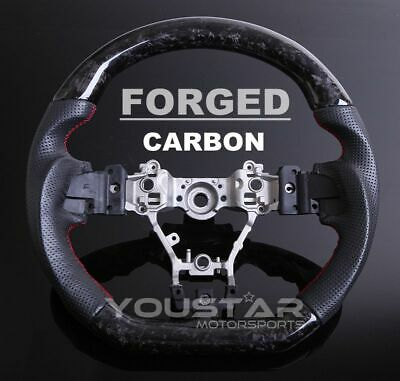 FORGED CARBON D-type Nappa Leather Red Stitch Steering Wheel for SUBARU WRX STI