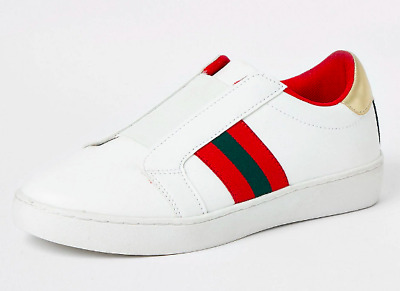 River Island Womens Ladies Girls Faux Leather Flat Casual Stripe Trainers Shoes