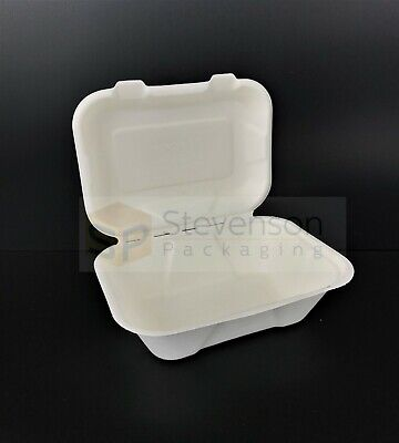 White Biodegradable small 7x5''  clamshell compostable food takeaway chip shop