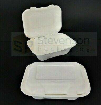 White Biodegradable small 7x5'' compostable Fast food takeaway box tray(50/ 500)