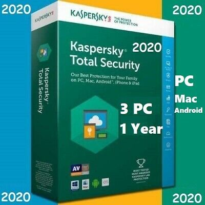 Kaspersky Total Security 3 Device | 2020 /360 +  Days | Download | Code Key Only