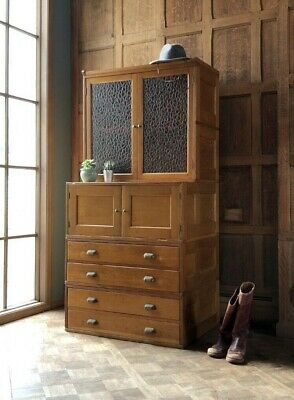 Antique Oak Stacking Cabinet, Flat File Storage Cabinet with Doors, Apothecary