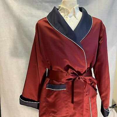 Mens Long Silk Satin Robe - Burgundy - Navy With White Piping