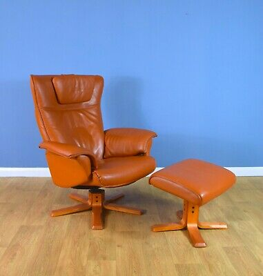 Mid Century Retro Danish Tan Leather Reclining Swivel Lounge Chair & Footstool