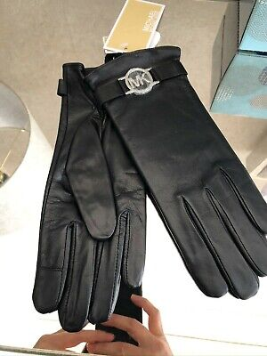Michael Kors Black Leather Gloves Silver Logo Small