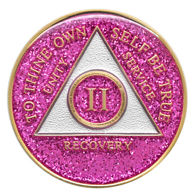 2 year AA Coin Pink Glitter Sobriety Chip Alcoholics Anonymous Sober Medallion