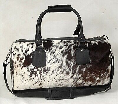 100 %Leather Cowhide Holdall/Duffle -Natural Fur Weekend/Overnight YKK ZIP DB-32