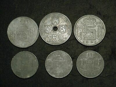 Belgium 1940s - 6 coins - zinc, various grades - WWII coinage