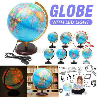 Rotating Rolling Stand Vintage World Globe Earth Map Geography LED Night Light