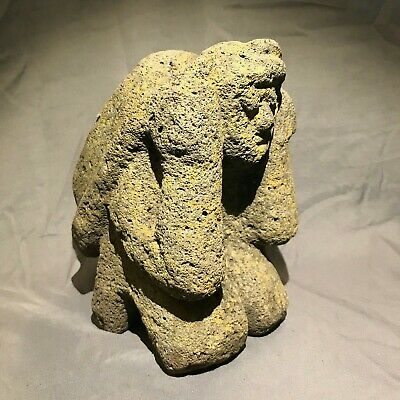 "ANCIENT Large 8.25"" Pre-Columbian Carved Stone Statue - Kneeling With Backpack"