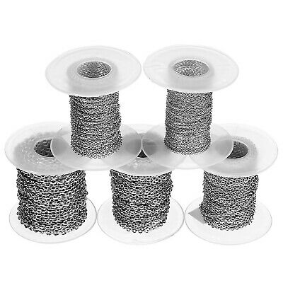 """10yd/Spool Stainless Steel 1-3mm Width Oval Link """"O"""" Chains DIY Jewelry Findings"""