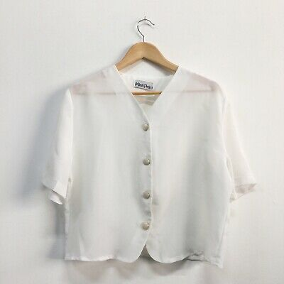 Vintage 80's White Blouse Crop Buttons V Neck Miss Prim Size 12 14 Retro