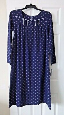 Croft and Barrow ballerina extra soft long sleeved nightgown size Medium navy
