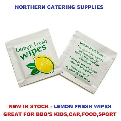 50x Lemon Scented Fresh Hand Wet Wipe, Individually Wrapped Sachet, Restaurant