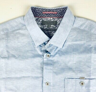Ted Baker London Mens Luxury Button Front Shirt Size 4 Blue Linen New Og. $155