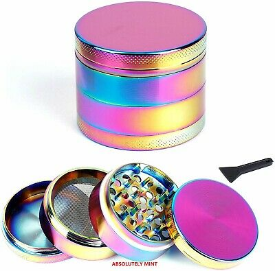 40mm/50mm Rainbow Metal Aluminium Hand Grinder 4 Part Tobacco Herb Crusher UK