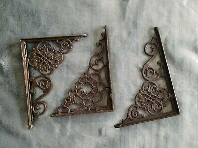 3  Antique Cast Iron Brackets Garden Braces Rustic Shelf Bracket Brown