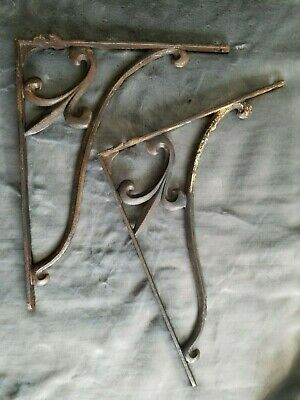 "2 Large old Shelf support Brackets 12x15"" rustic cast iron Antique braces"