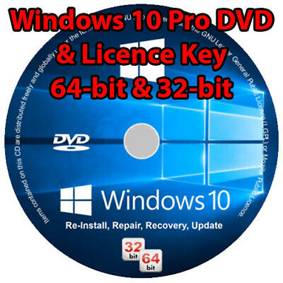 Windows 10 professional 32 and 64-bit DVD disc and License Key Code