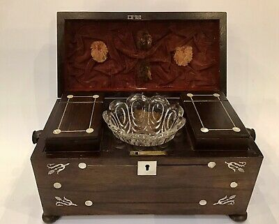 Antique Sarcophagus Tea Caddy Inlaid Mother Of Pearl With Mixing Bowl